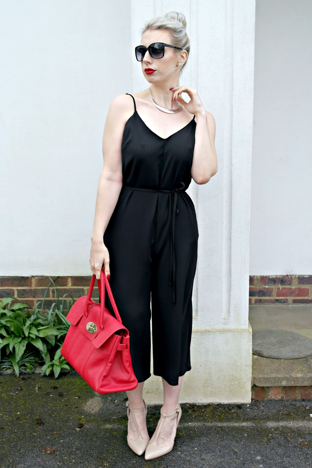 black jumpsuit, river island, fashion blogger