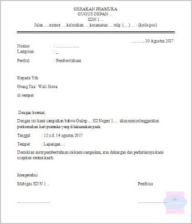 contoh format surat pemberitahuan kegiatan perkemahan pramuka