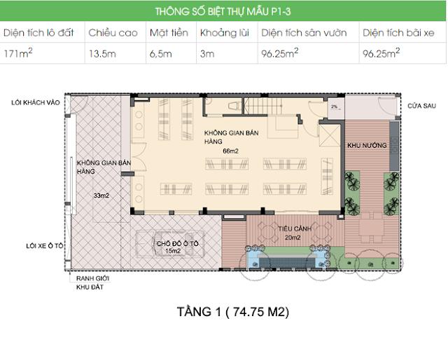 Mặt bằng biệt thự P1-3 An Phú Shop Villa - Tầng 1