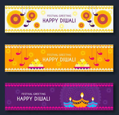 Happy Diwali Web Banner Collection Vector Free Download