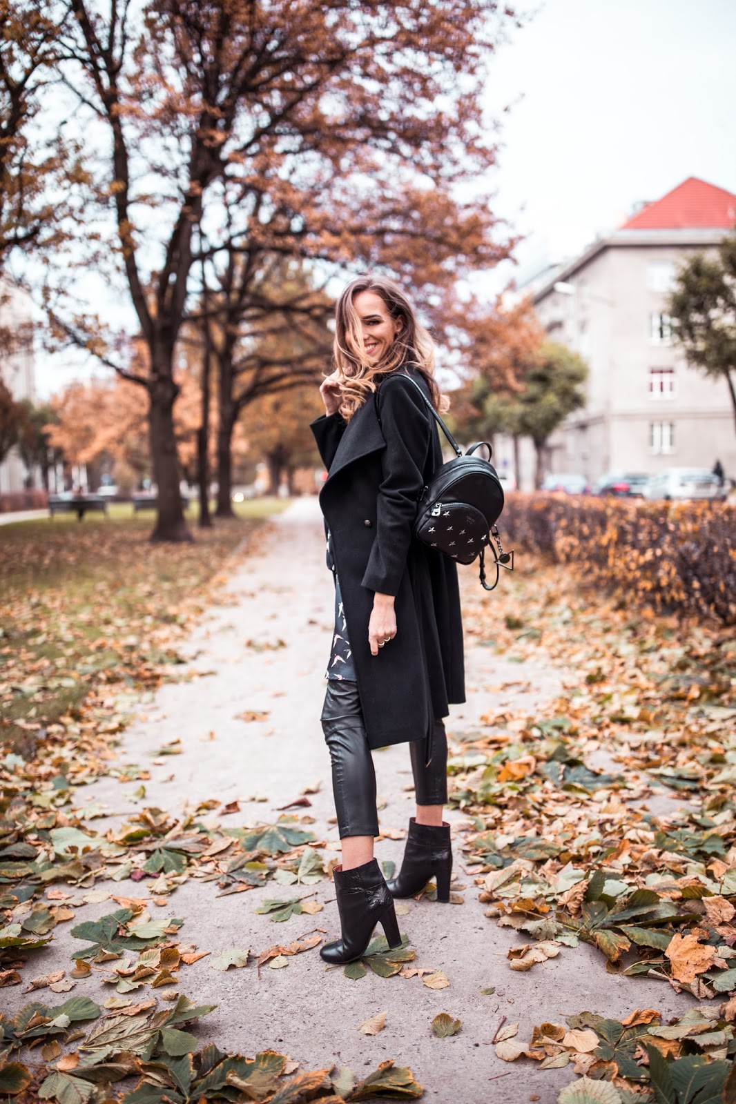 leather pants ankle boots black fall outfit