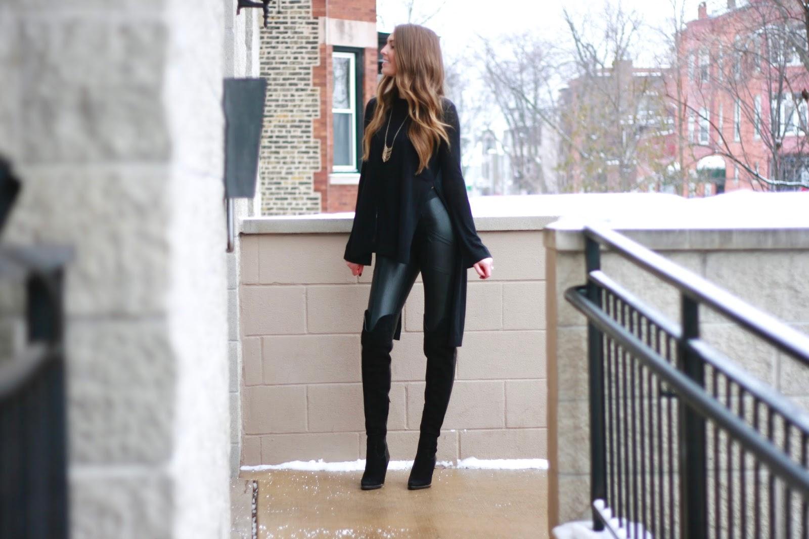 6a9e0205549 Black BCBG sweater    Black BCBG Andrei faux leather leggings    Similar black  over the knee boots    Similar black over the knee boots