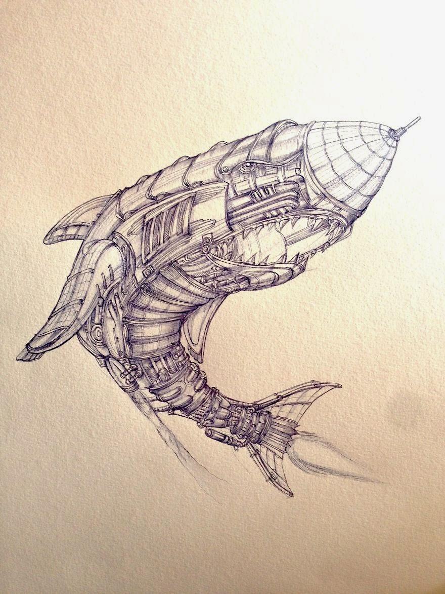 dibujo artístico con bolígrafo de tiburón estilo steampunk