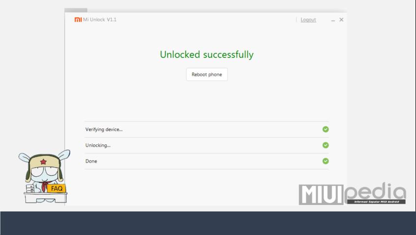 """""""Unlocked Successfully"""" selamat sudah UBL dengan sukses"""