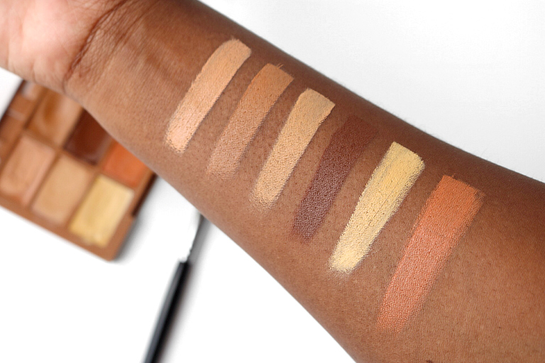 nyx conceal correct contour palette deep. swatches of the nyx conceal correct contour palette in \u0027dark\u0027 from top left (tl) to bottom right (br) nyx deep c