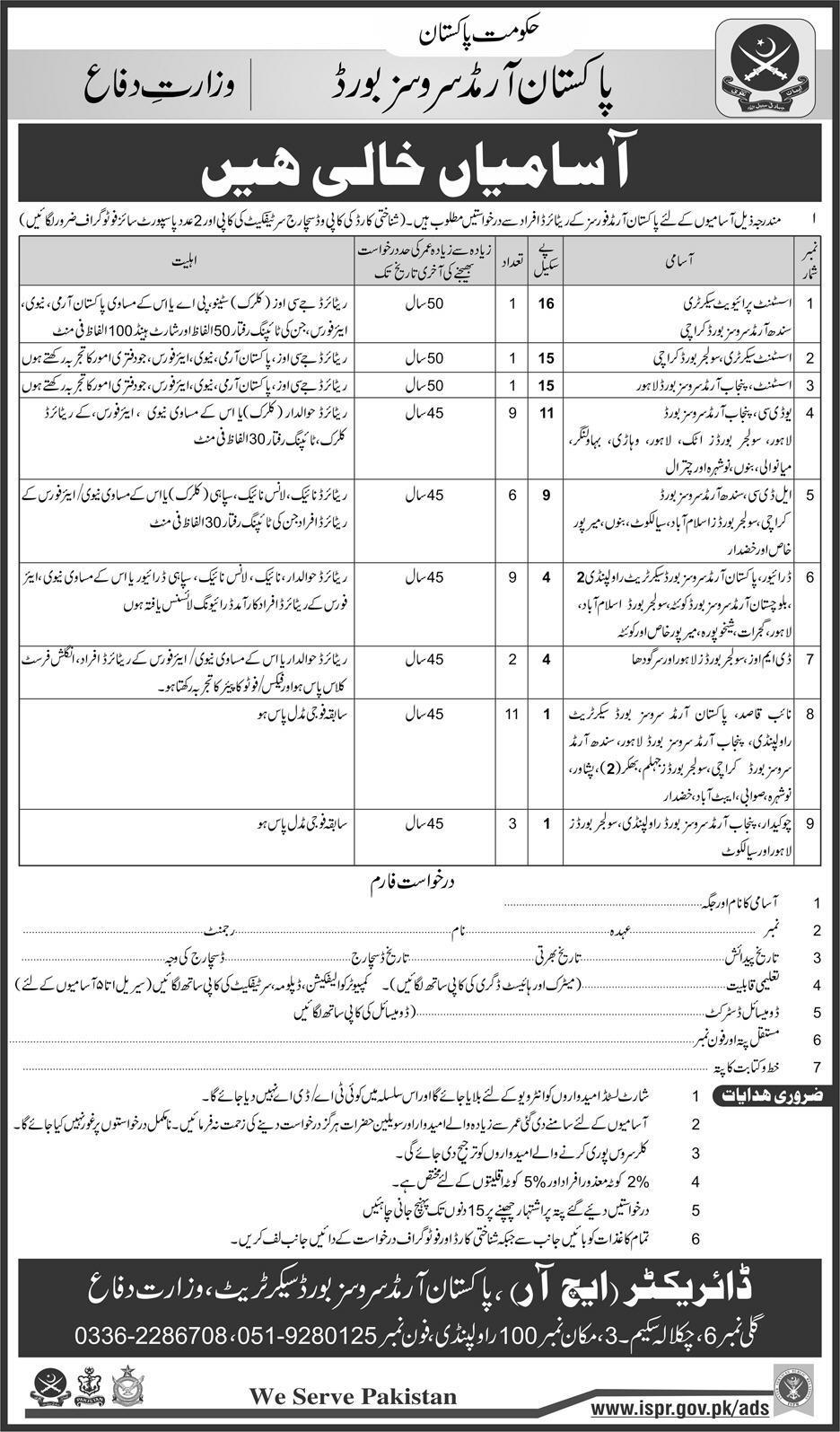 Pakistan Armed Services Board Jobs 2018