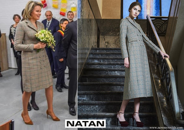 Queen Mathilde is wearing a checked coatdress from NATAN Couture FW17 collection