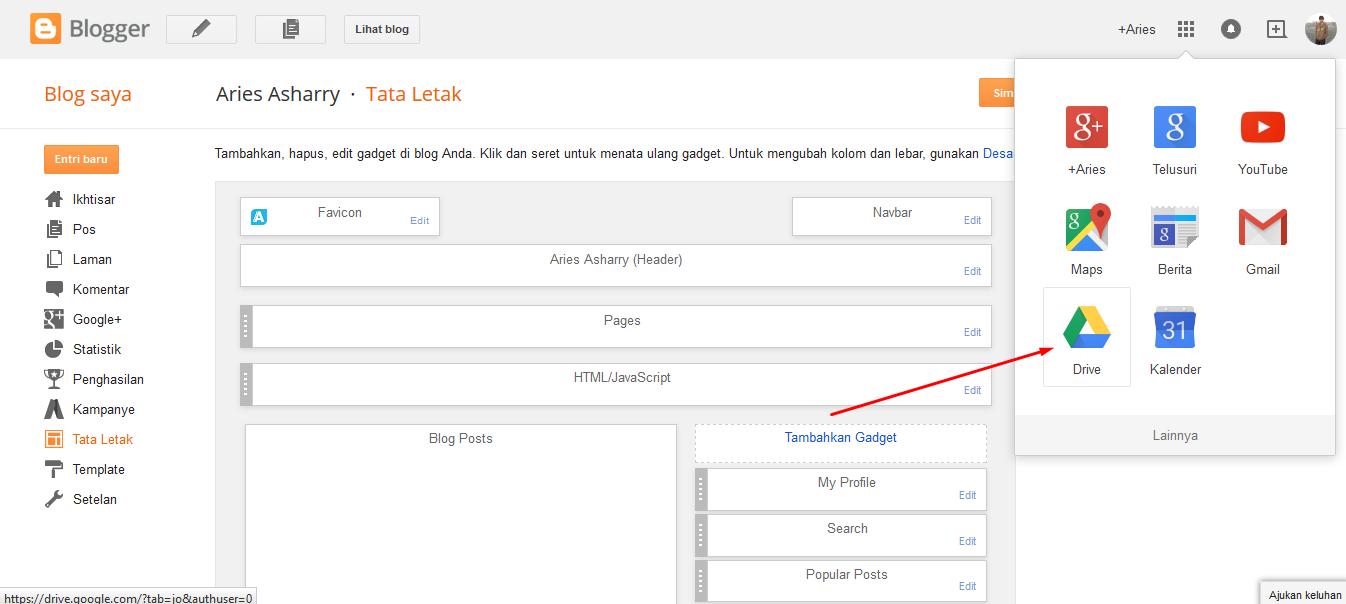 Google Drive pada akun Blogger