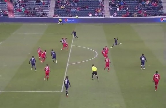 Chivas USA player Edgar Mejía kicks the ball from long range to score against Chicago Fire