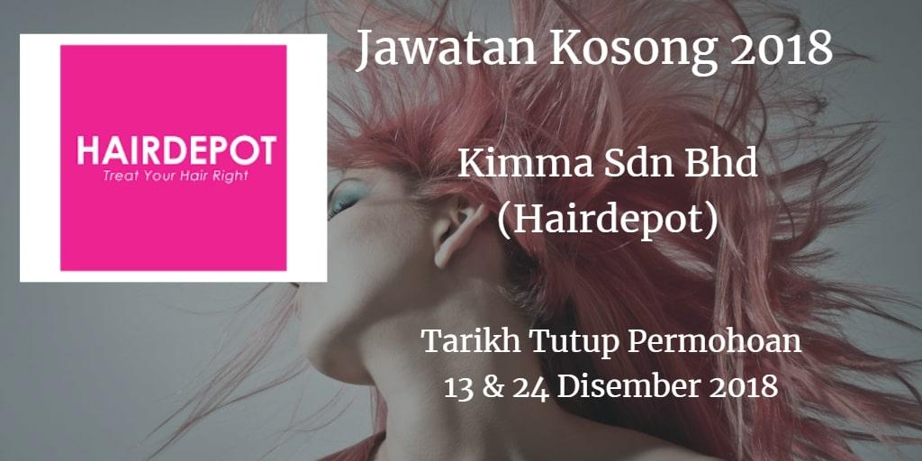 Jawatan Kosong Kimma Sdn Bhd (Hairdepot)13 & 24 Disember 2018