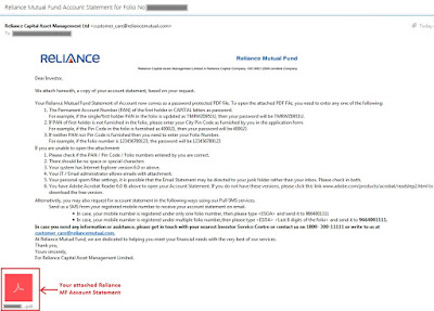 Reliance Mutual Fund - Online Account Statement