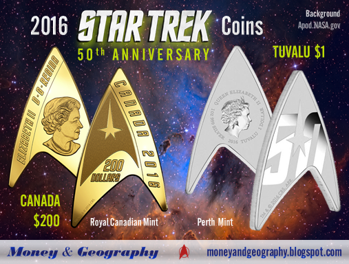 Star Trek Delta Shield coins (2016) from Canada and Tuvalu