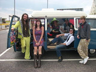 Festival camper van with friends