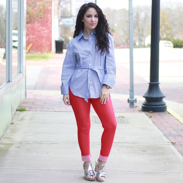 Blue and White Striped Shirt for Spring