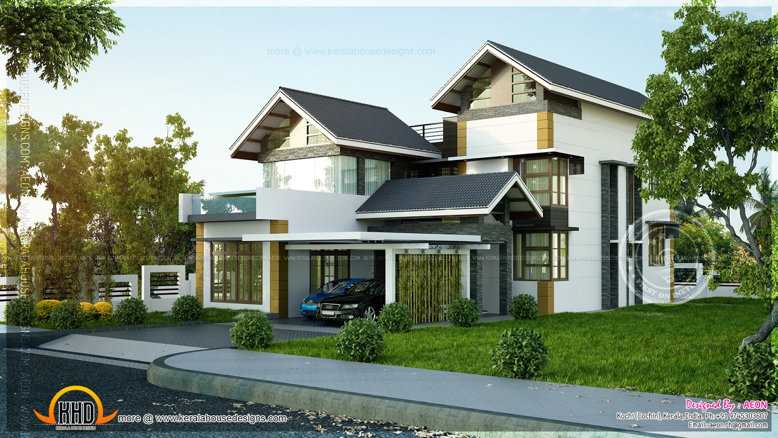 Contemporary sloping roof home kerala home design and for Slope home design