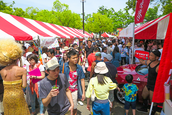 Booths at Tokyo Rainbow Pride 2016, Yoyogi Park Event Plaza, Tokyo.