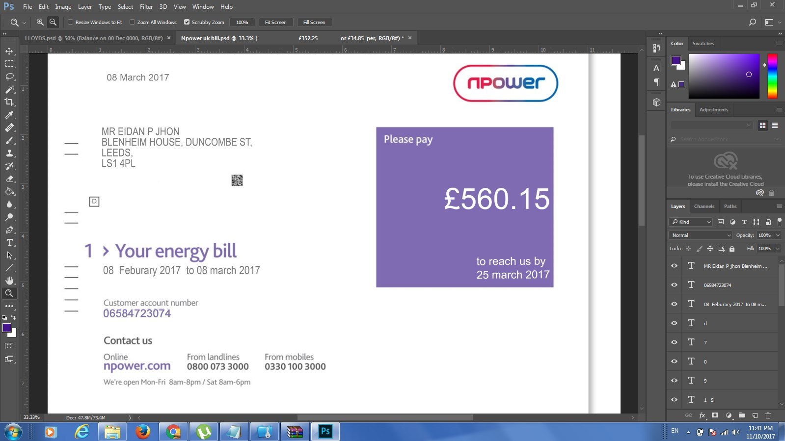 NPOWER BILL EDITABLE PSD TEMPLATE / PROOF OF ADDRESS UK