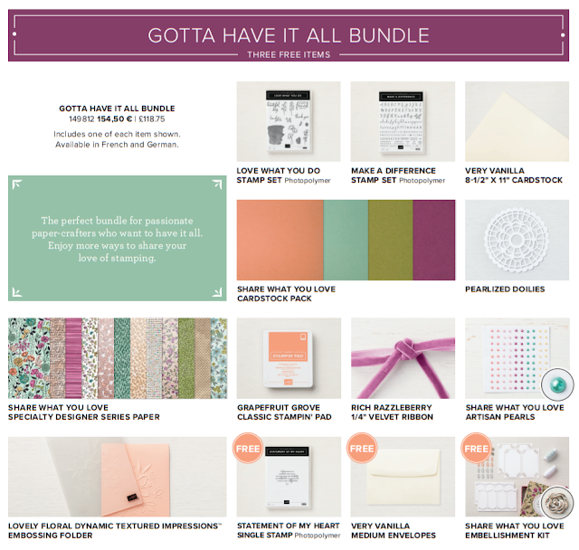 This graphic shows all the Stampin' Up! products that are available in the Share What You Love early release 'Gotta Have It All Bundle'.