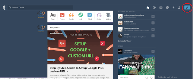 Tumblr user interface bloggingqna