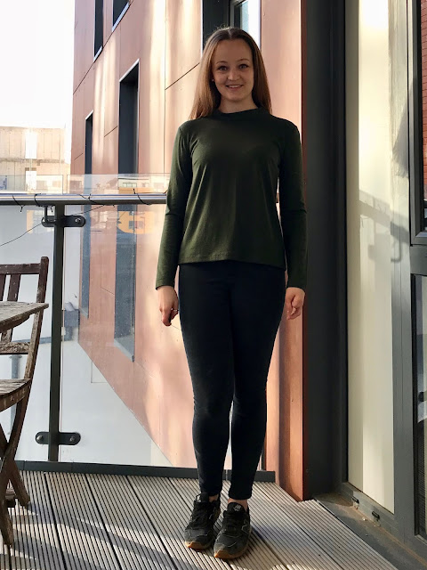 Diary of a Chain Stitcher: Forest Green I Am Patterns Sirius Top in Merino Jersey and Lace from The Fabric Store