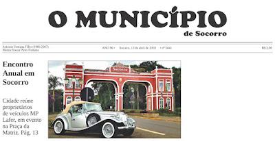 """Anúncio do evento do Clube MP Lafer Brasil ganha destaque na primeira página do jornal """"O Município de Socorro""""."""
