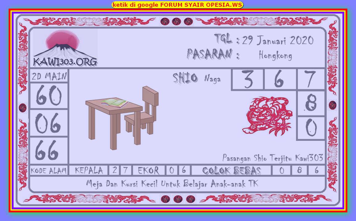 Kode syair Hongkong Rabu 29 Januari 2020 135