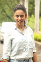 Rakul Preet Singh in Jeans and White Shirt At Jaya Janaki Nayaka le Logo Launch ~  Exclusive 014.JPG