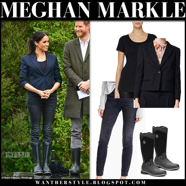 Meghan Markle in navy karen walker blazer, skinny jeans and black muck wellington boots royal tour new zealand style october 29