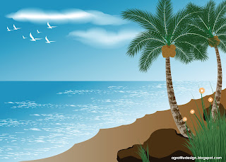 Peaceful Beach Scenery Vector Design