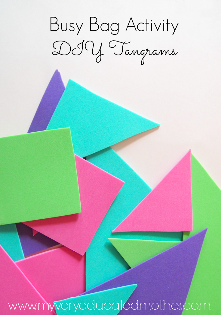 Busy Bag Activity! DIY Tangrams, you won't believe how easy it is to make this educational and imaginative busy bag activity.