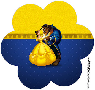 Beauty and the Beast Party Toppers or Free Printable Candy Bar  Labels.