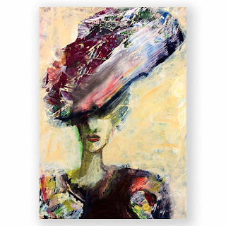 A small painting of princess Diana of wales wearing a large hat with flowers and lace