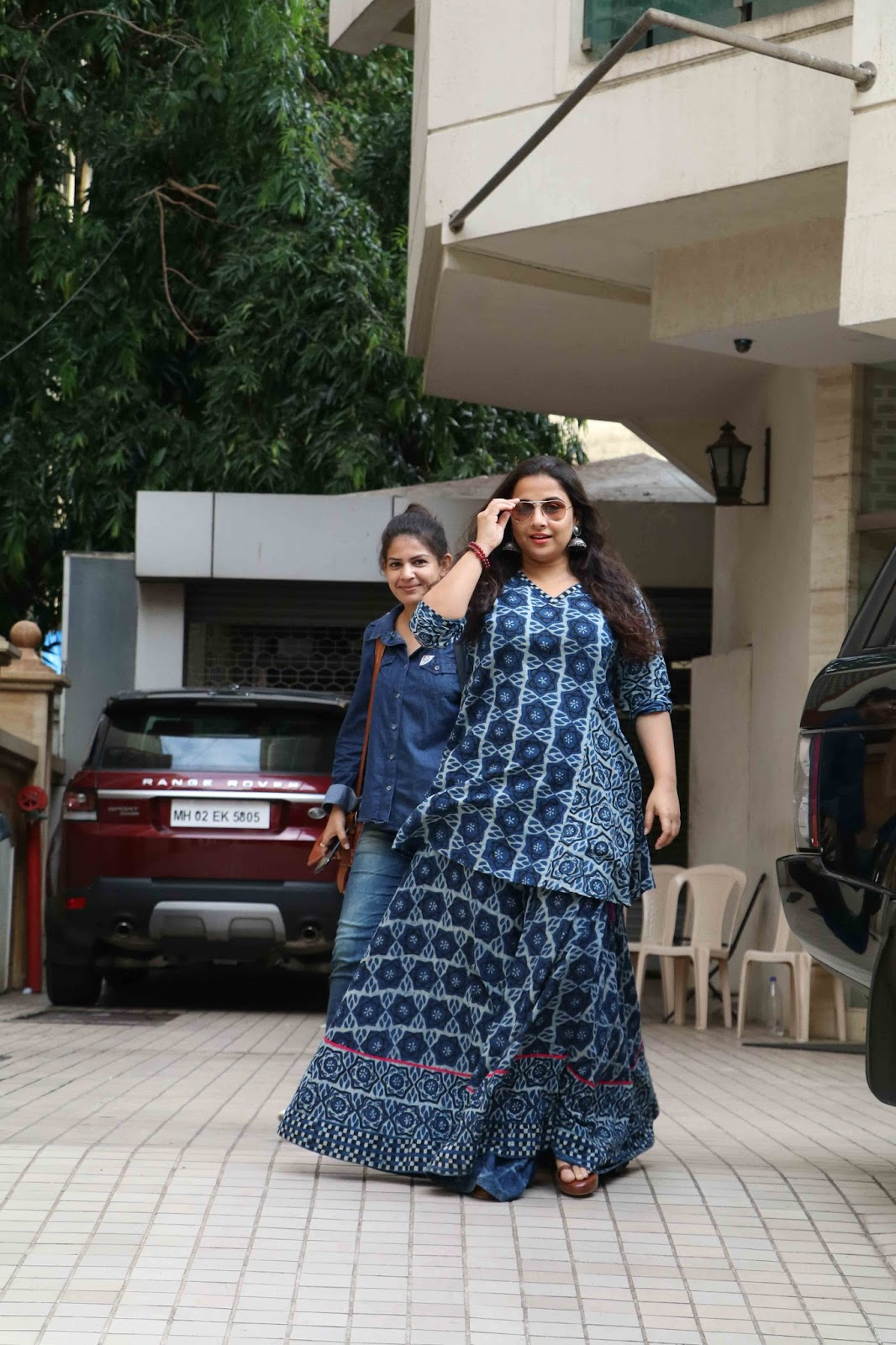Beautiful Hindi Actress Vidya Balan Long Hair Photos In Blue Dress