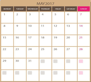 blank kalendar for May 2017 - printable and editable in photoshop ESP and illustrator ai formats . all images in high qualities. vector for free download.