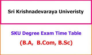 Sri Krishnadevaraya University Degree Exam Time Table 2021