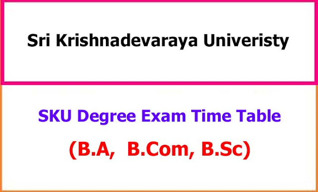 Sri Krishnadevaraya University Degree Exam Time Table