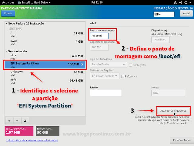 """Selecione a partição """"EFI System Partition"""" e defina o ponto de montagem como /boot/efi"""
