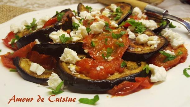 كيفية تحضير سلطة الباذنجان بجبنة الفتة salade-daubergines-a