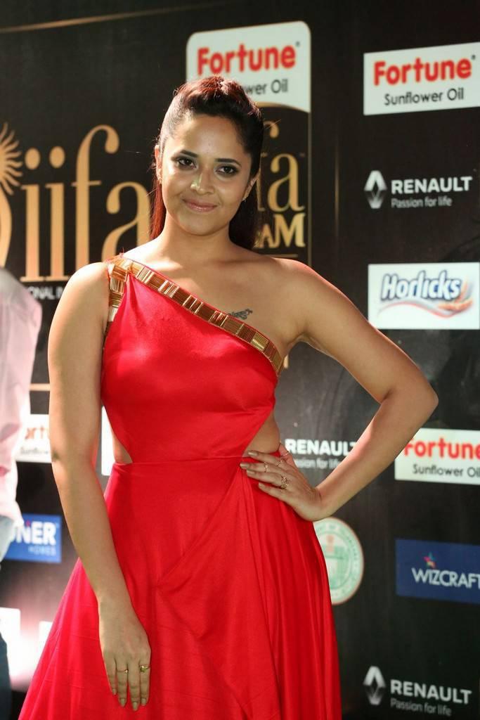 Telugu TV Anchor Anasuya At IIFA Awards 2017 In Red Dress