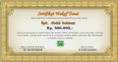 Contoh Sertifikat Wakaf Tunai Masjid Al Muhajirin Bandung