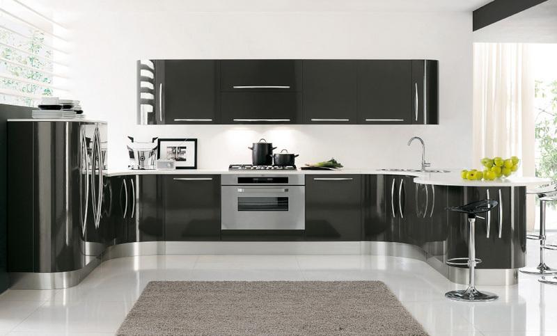 Cucine Nere Lucide. Cucina Completa Laccata Lucida Bianco E Grigio ...