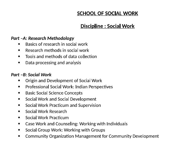 Syllabus for course work of phd