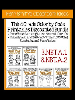 Fern Smith's Classroom Ideas Third Grade Math - Unit One Color By Code Printables with Common Core at Teacherspayteachers.