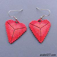 купить серьги из бисера сердца сердечки день влюбленных подарок девушке