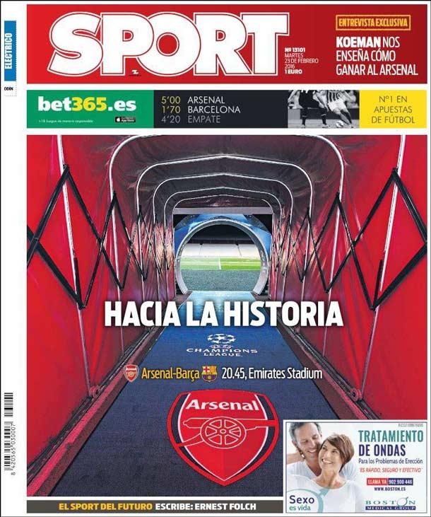 Portada del periódico Sport, martes 23 de febrero de 2016