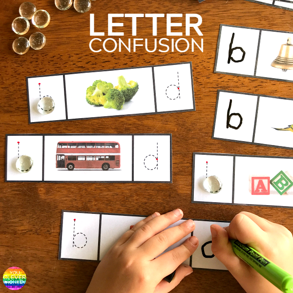 How To Fix b + d  and p + q Letter Reversals - use these printable cards to practice differentiating between the letter b and d | you clever monkey
