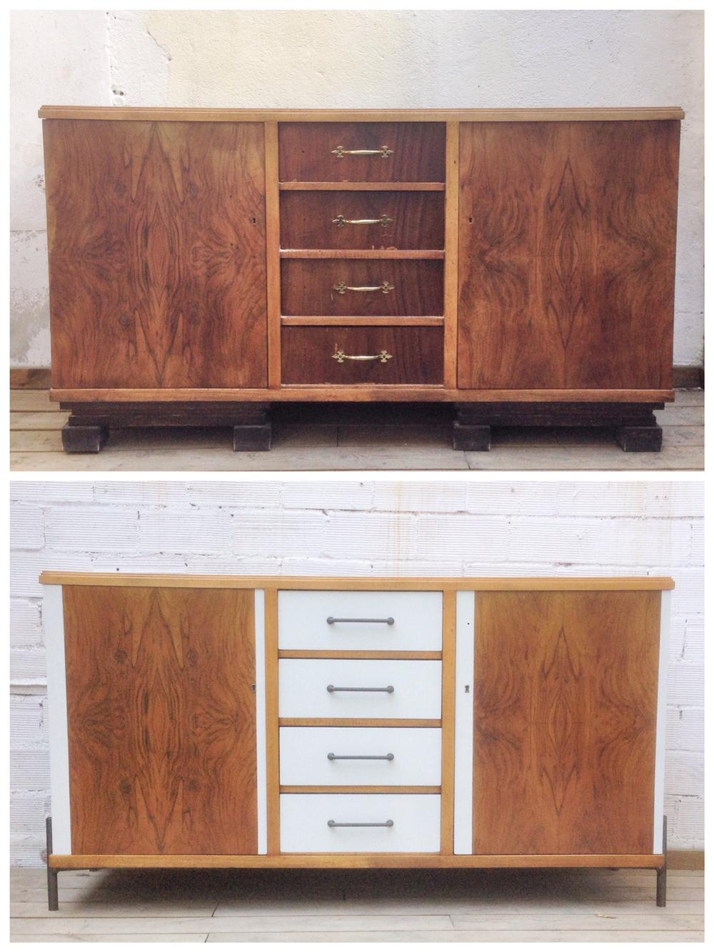 Antes y después - Aparador restaurado y pintado - Studio Alis