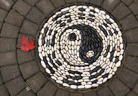 mosaic with red leaf, Holland Park Surrey BC, by waferboard