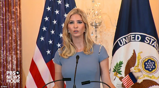 Matchy matchy! Ivanka Trump leaves her home wearing an elegant frock in the very same cornflower blue color as her husband Jared Kushner's tie