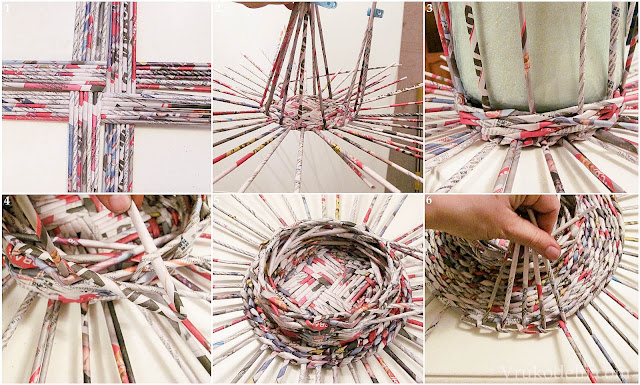 плетение из газетных трубочек, как делать поделки из газет, поделки из газетных трубочек